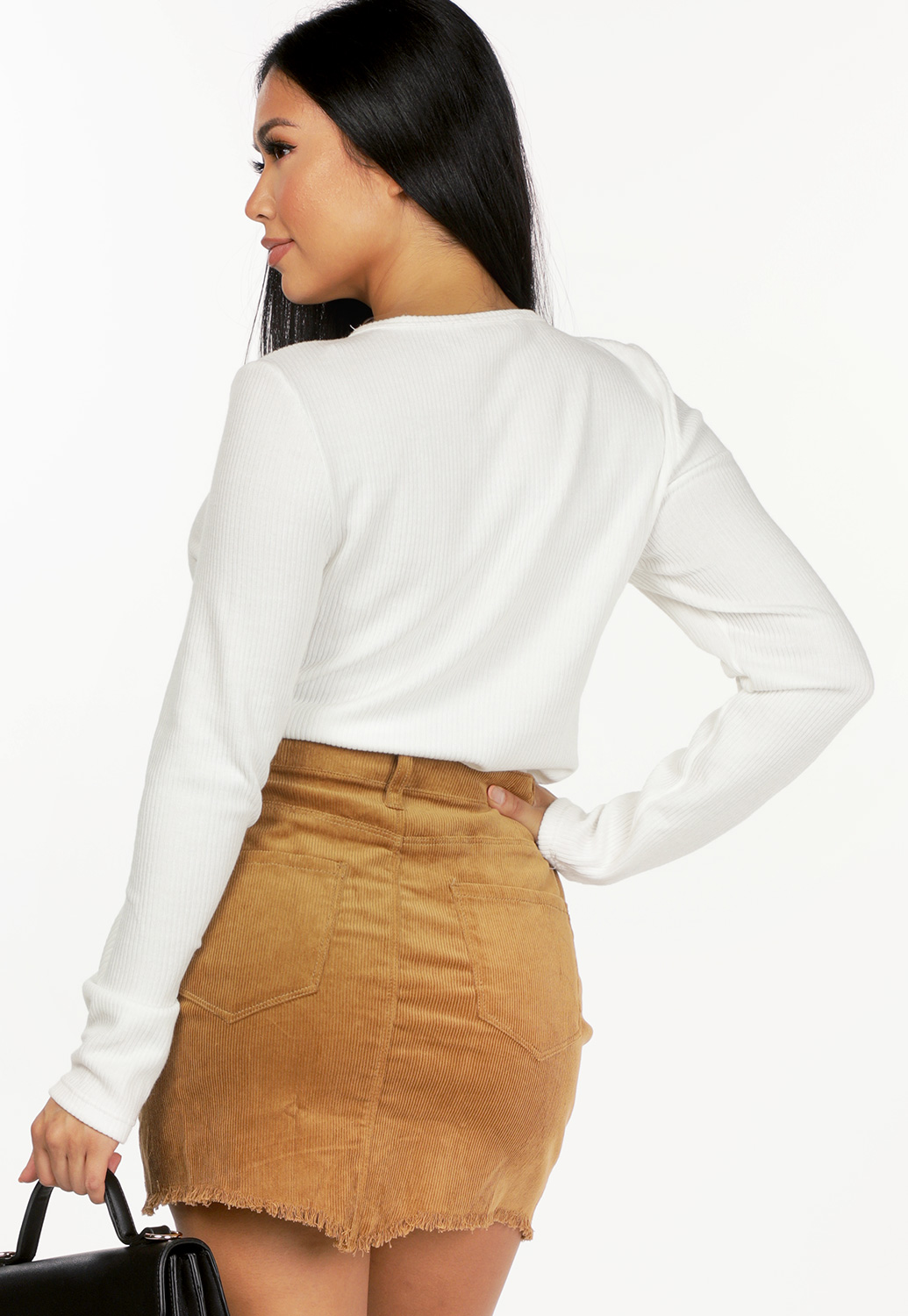 Ribbed Button Detail Top