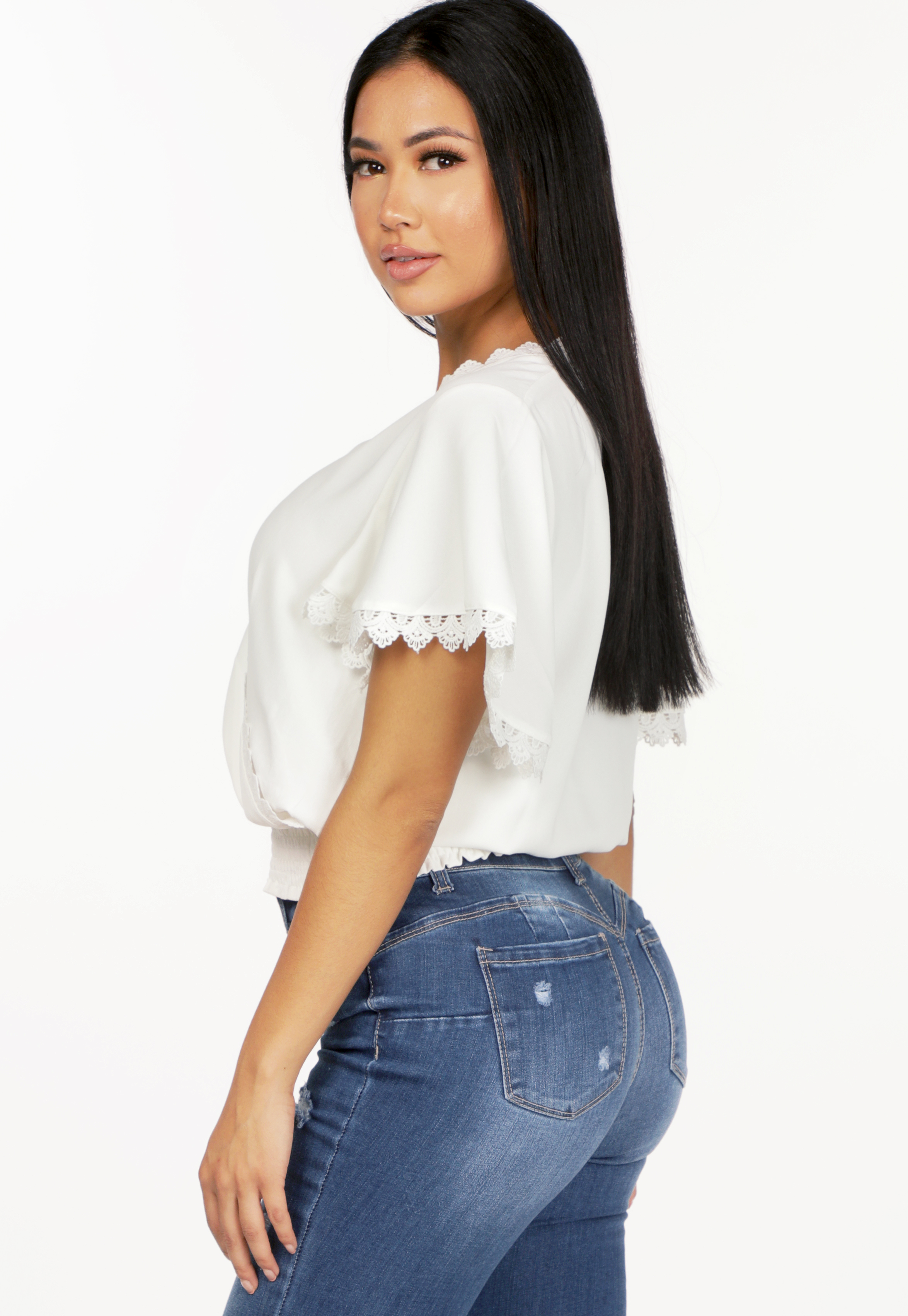 Crochet Trim Surplice Top