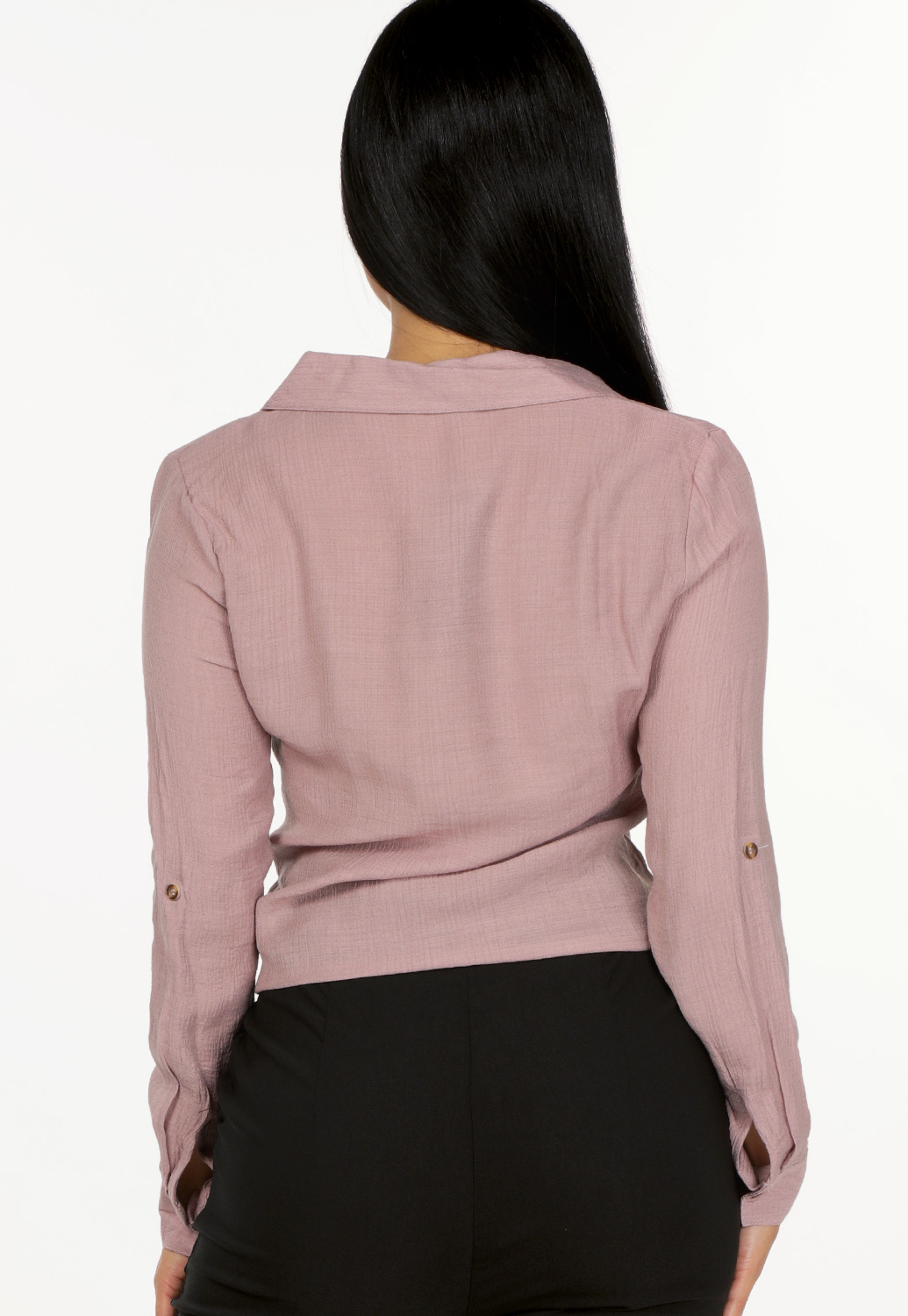 Button Detail Tie Front Top