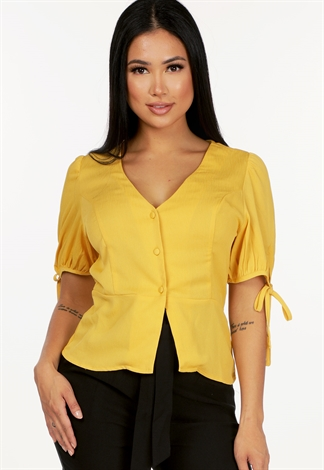 Button Up V Neck Top