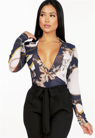 Sheer Chain Print Bodysuit