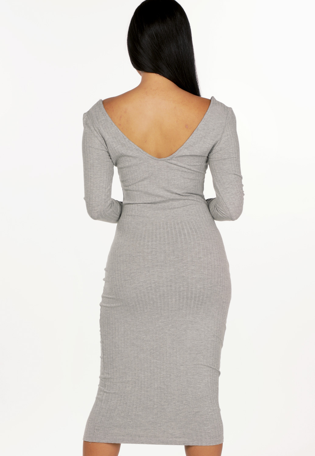Ribbed V-Neck Midi Dress