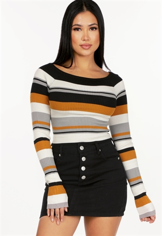 Off The Shoulder Striped Knit Top