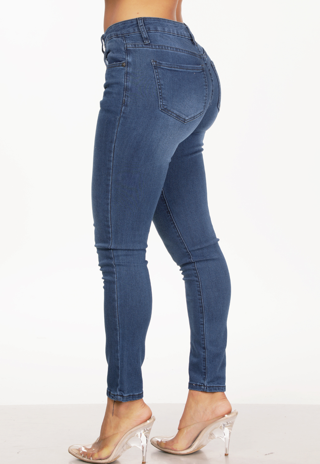 Multi Button High Rise Skinny Jeans