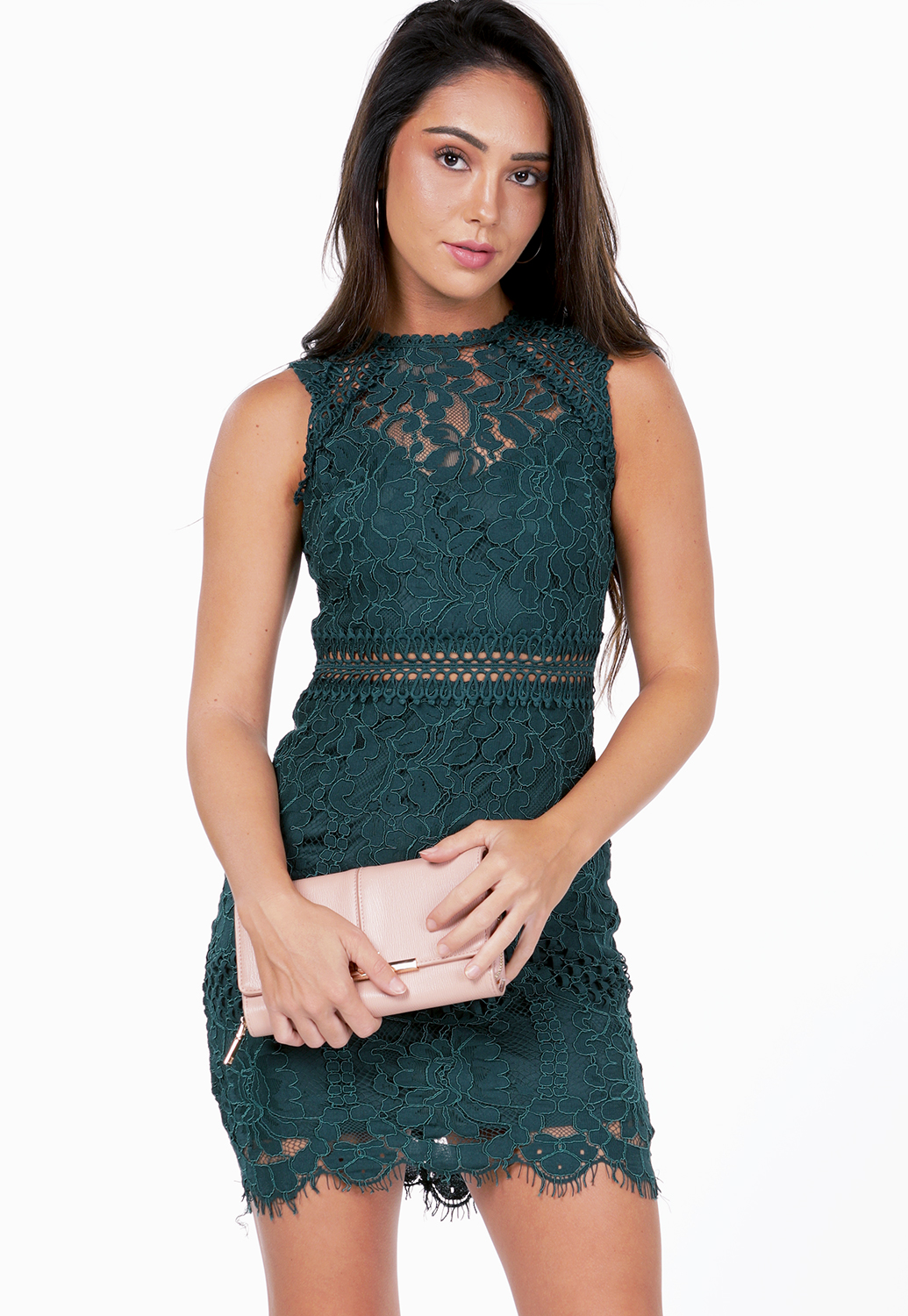 Crochet Trim Lace Panel Dress