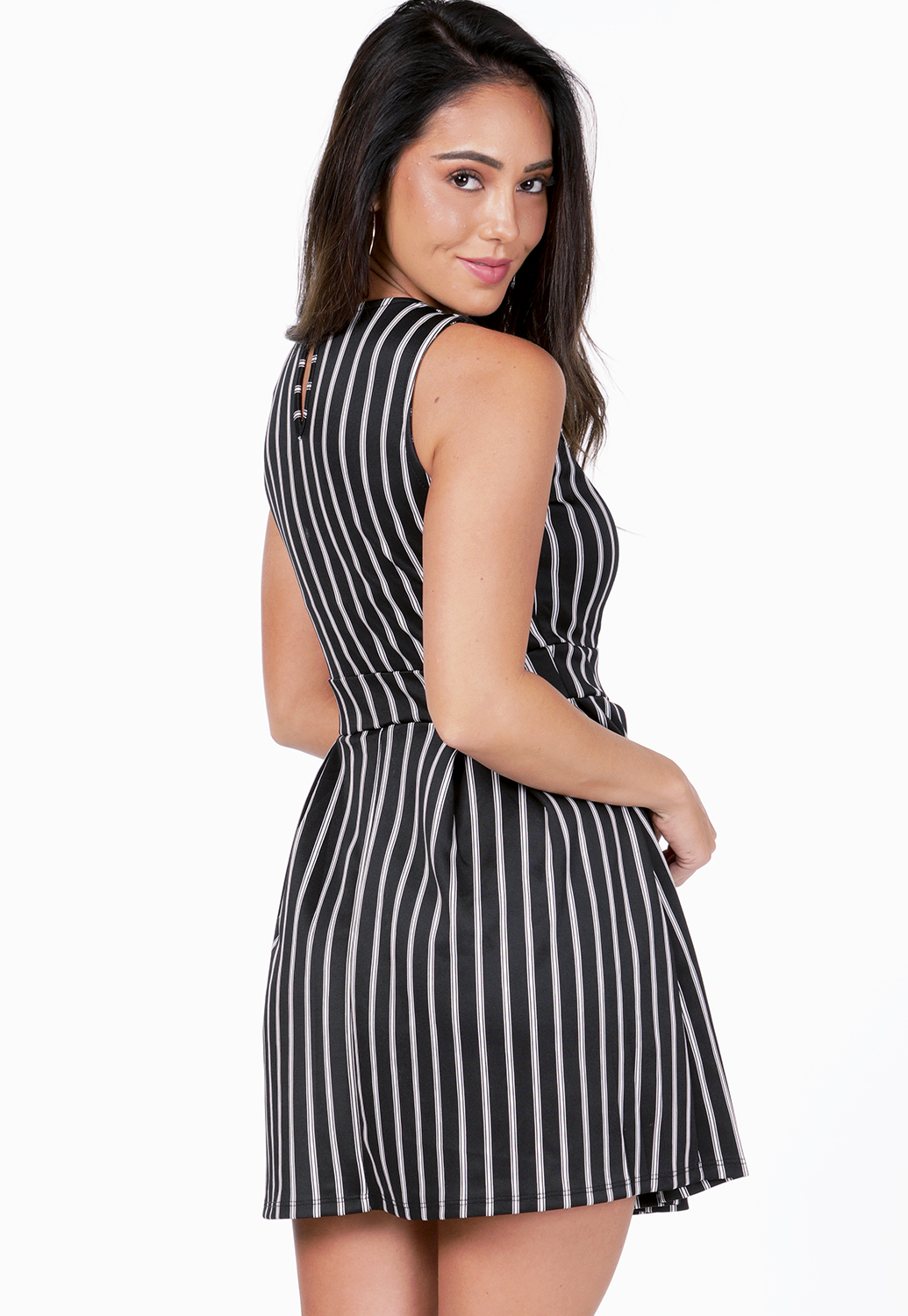 Pinstriped Fit And Flare Mini Dress