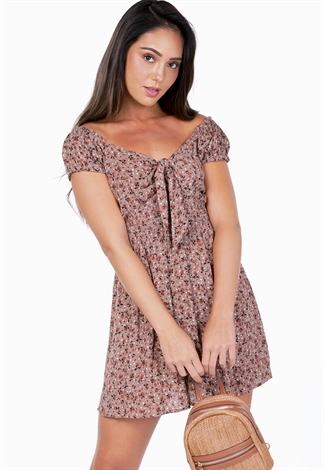 Floral Tie Front Mini Dress