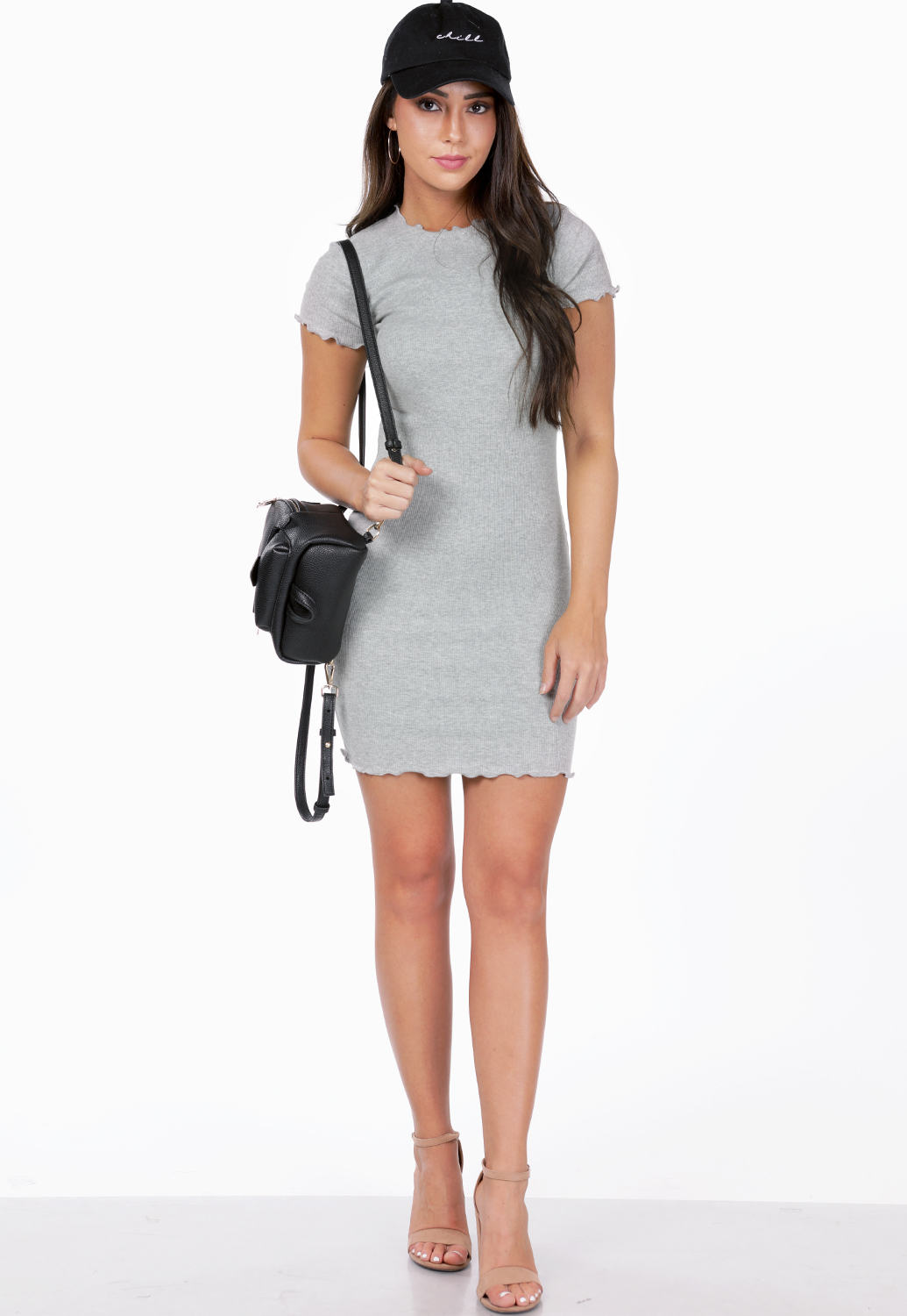 Lettuce Edge Ribbed Mini Dress