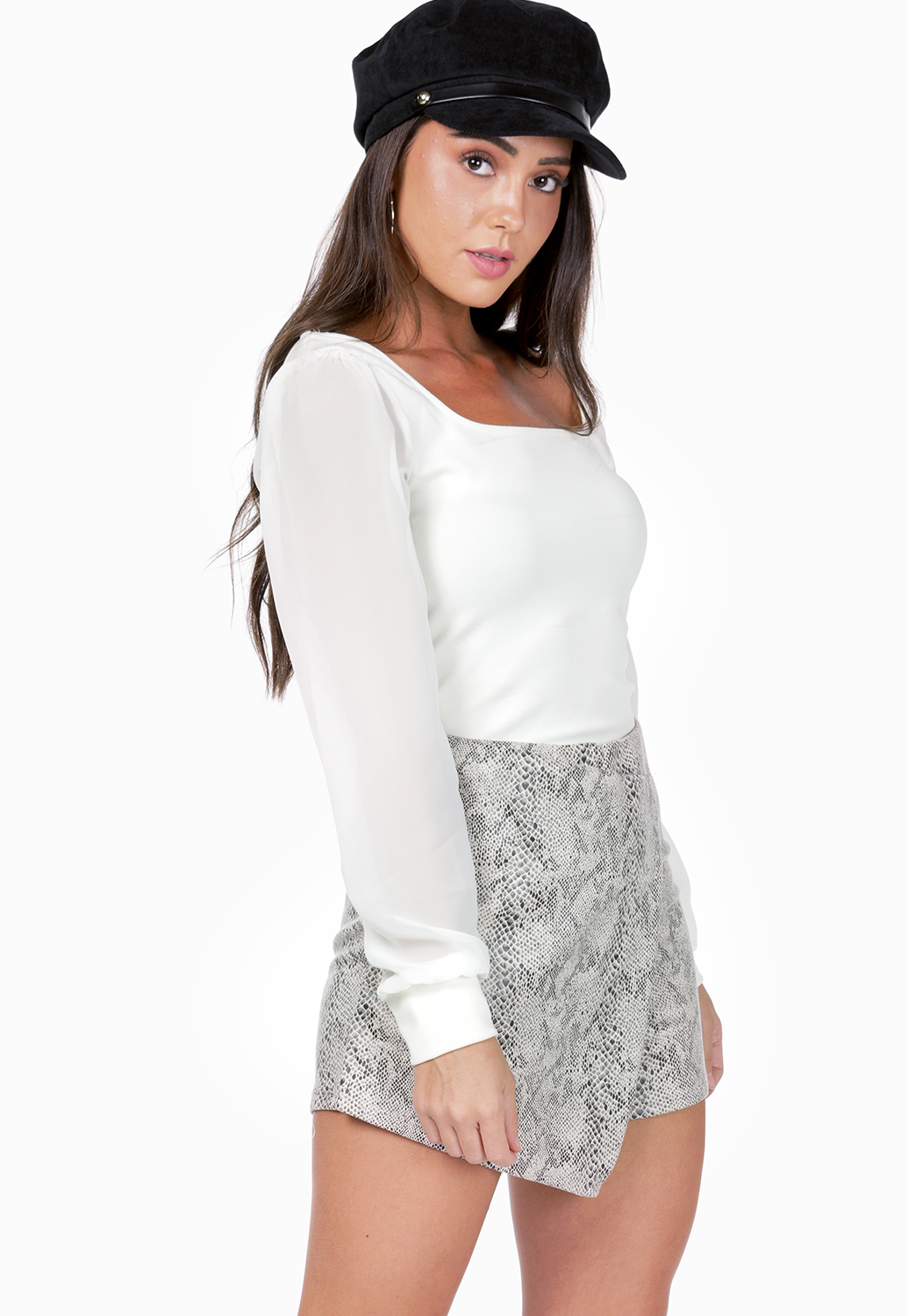 Square Neck Sheer Sleeve Top