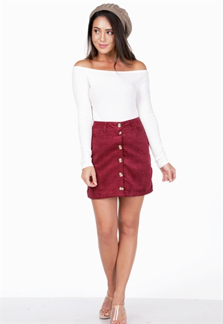 Ribbed Corduroy Mini Skirt