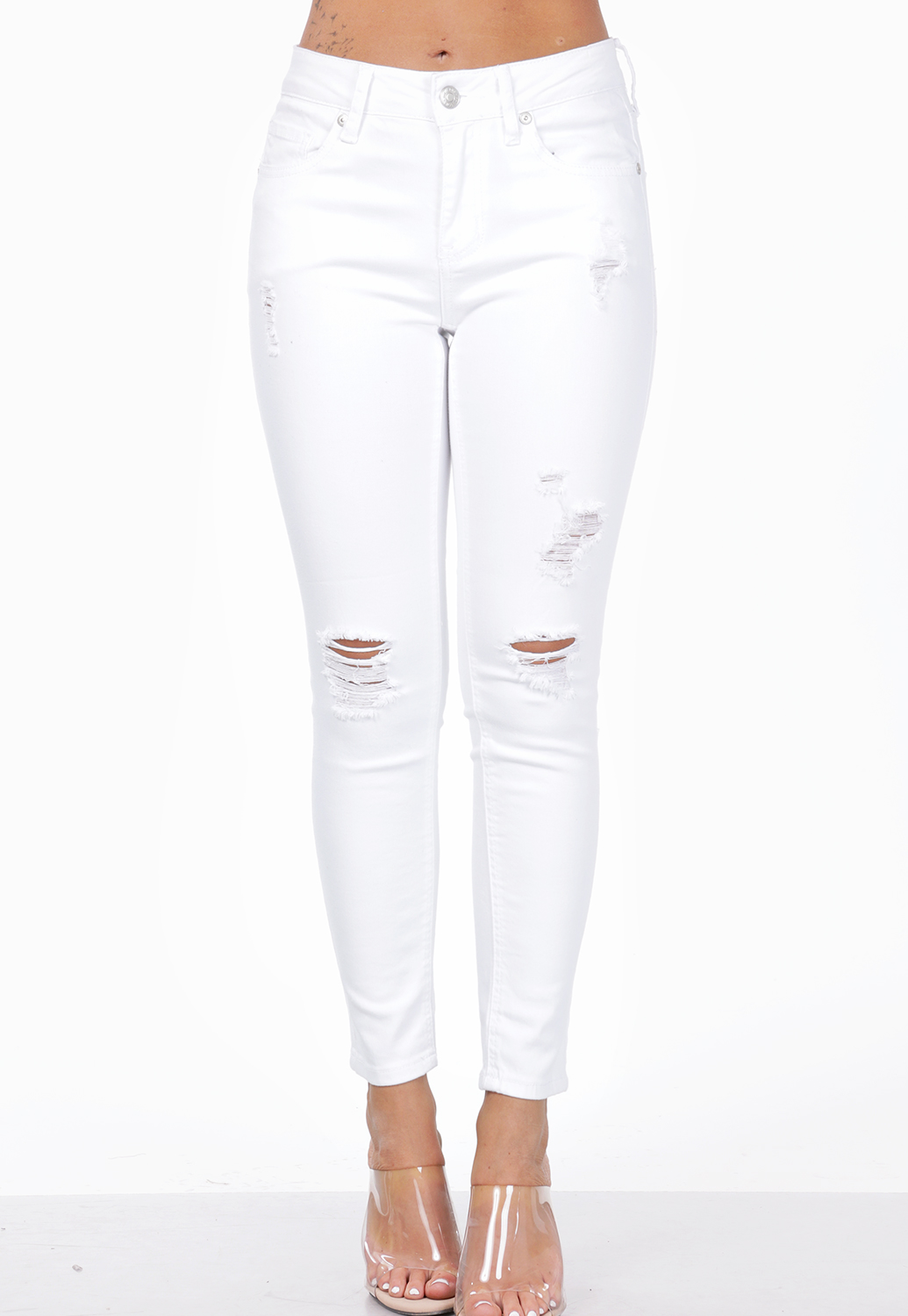 Mid Rise Rise Distressed Skinny Jeans