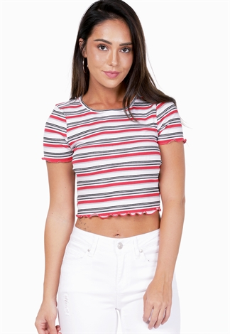 Striped Lettuce Edge Tee