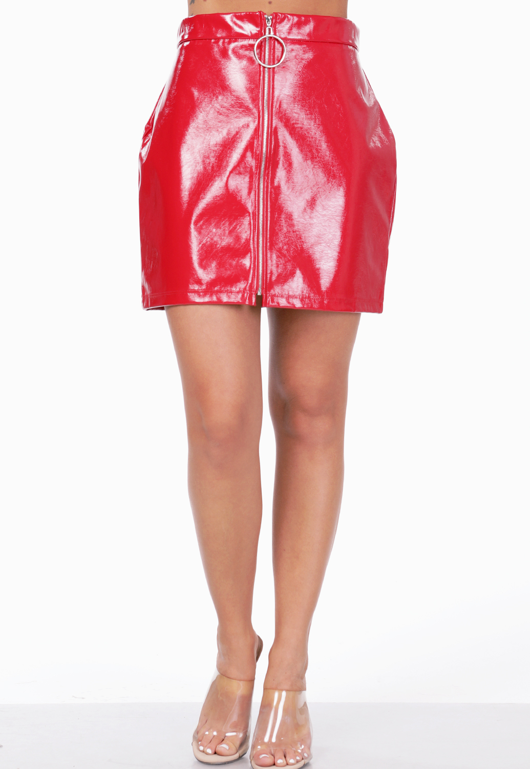 Zip Up Faux Leather Mini Skirt