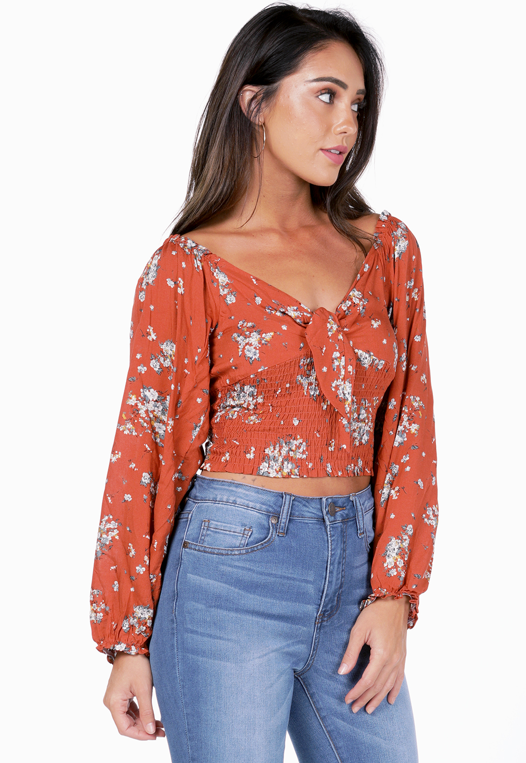 Floral Smocked Detail Top