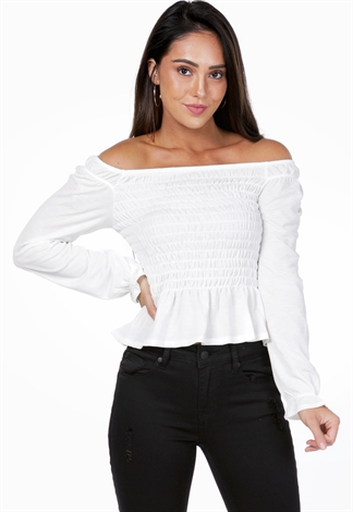 Smocked Flare Trim Top