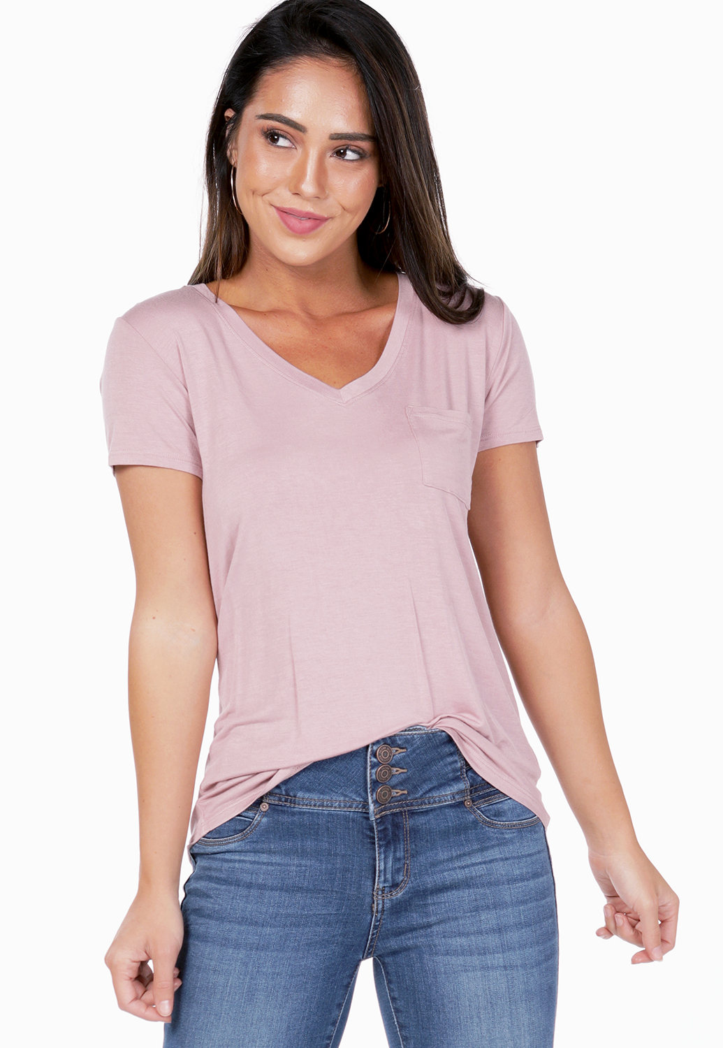 V-Neck Pocket Detail Top