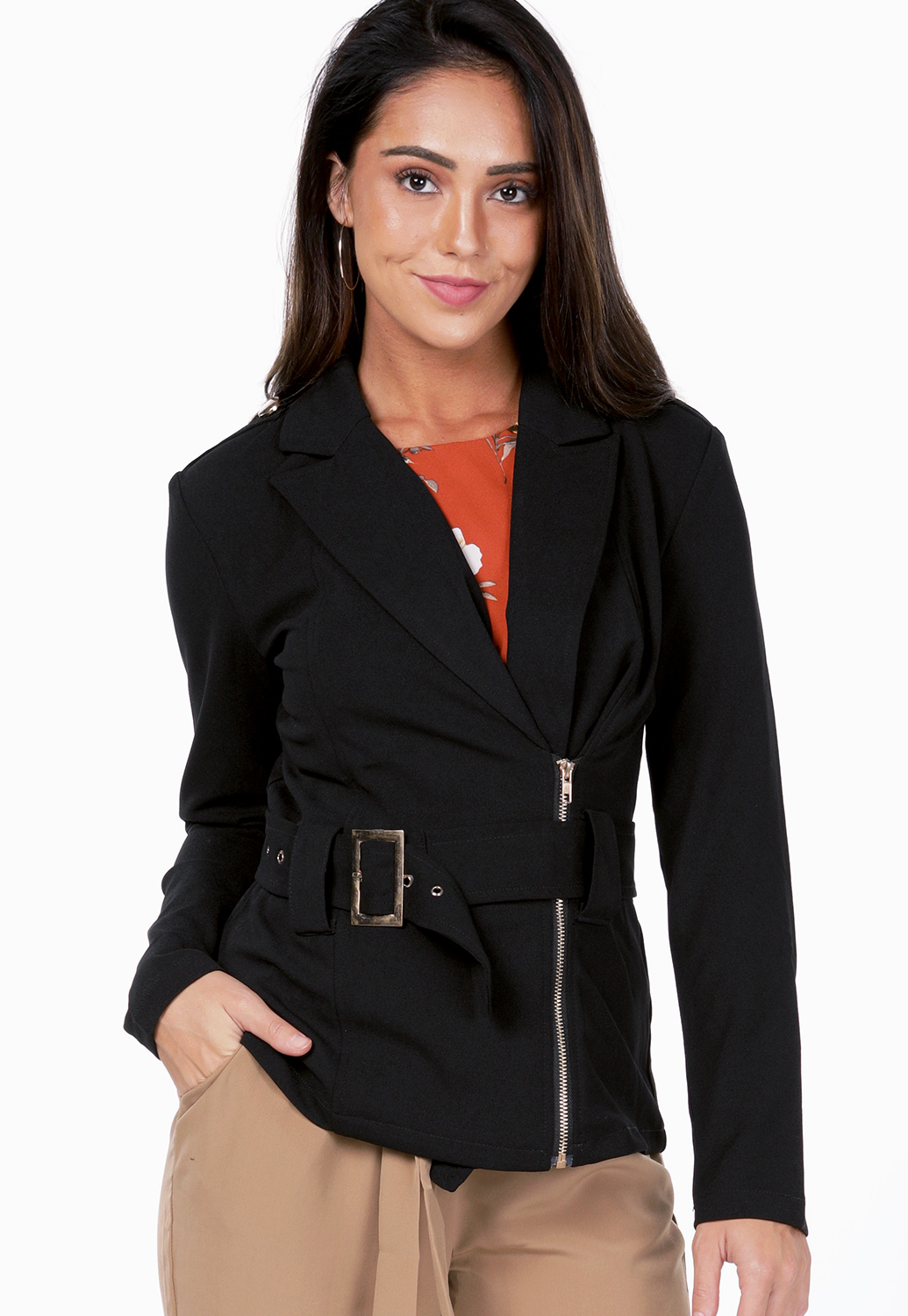 Belted Zip Up Dressy Jacket