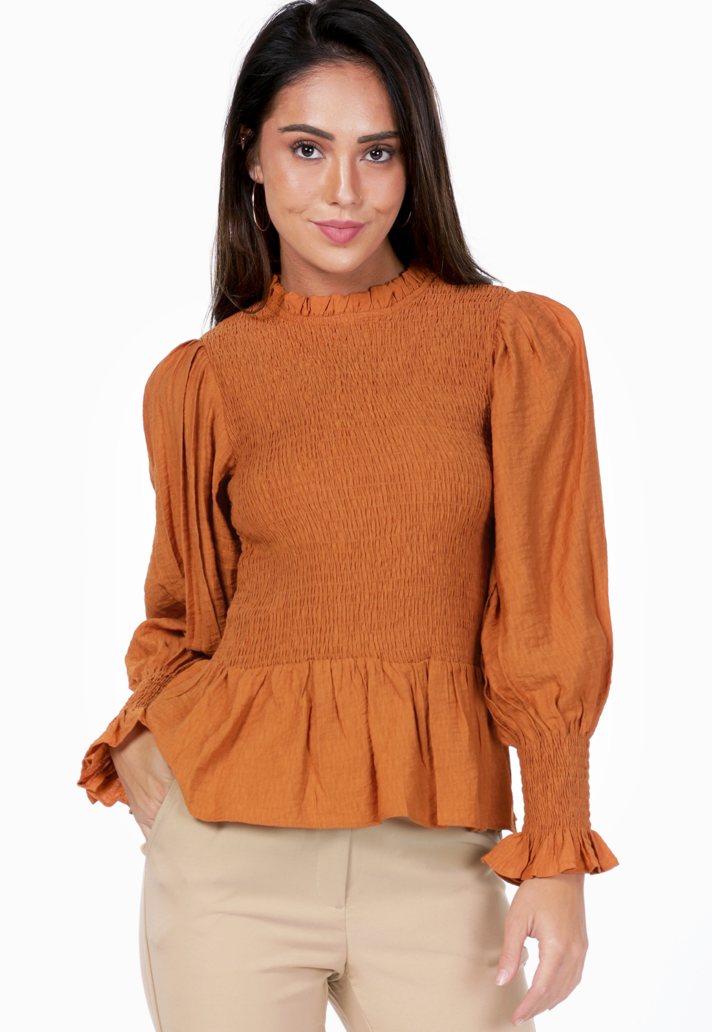 Smocked Flare Hem Top