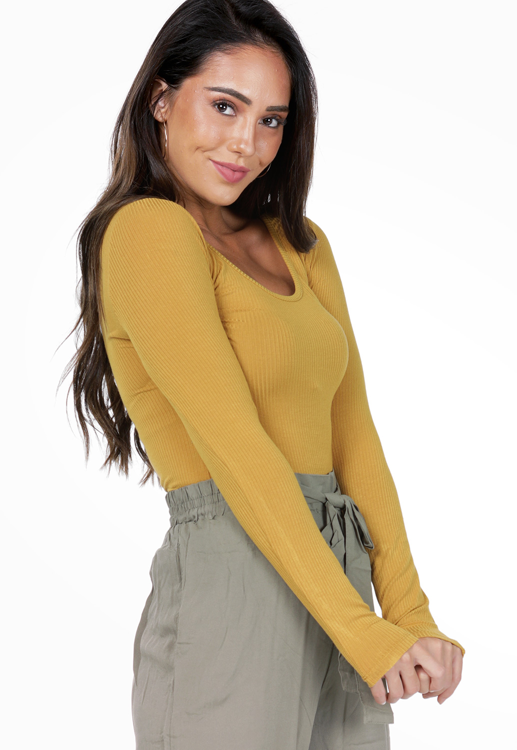 Long Sleeve Ribbed Bodysuit