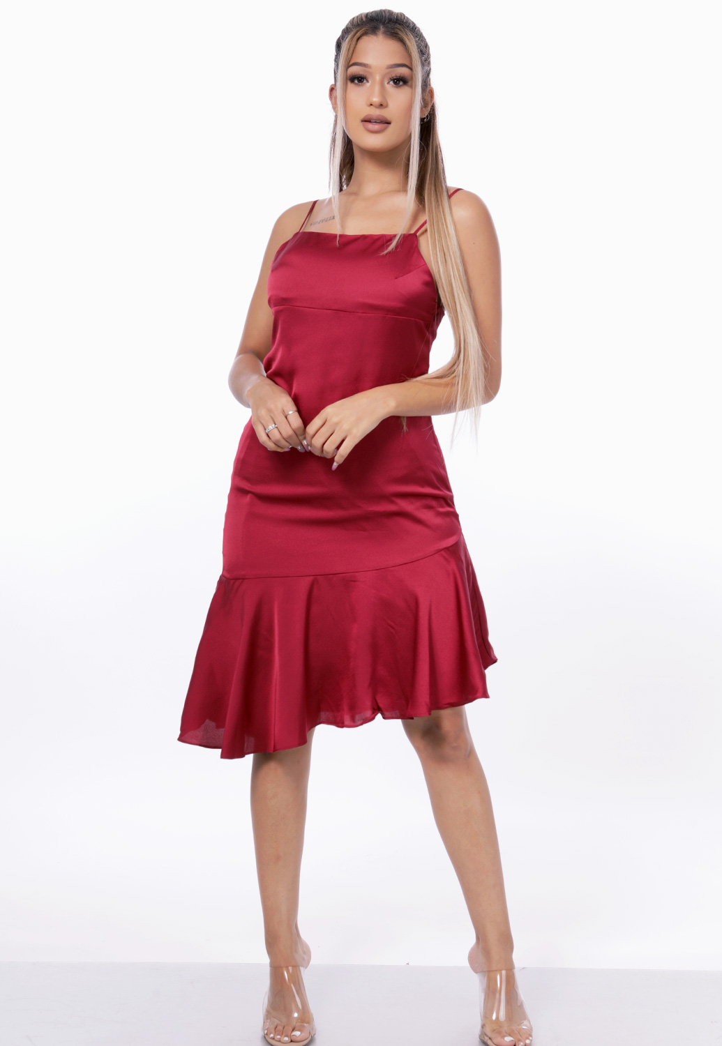 Ruffle Trim Satin Dress