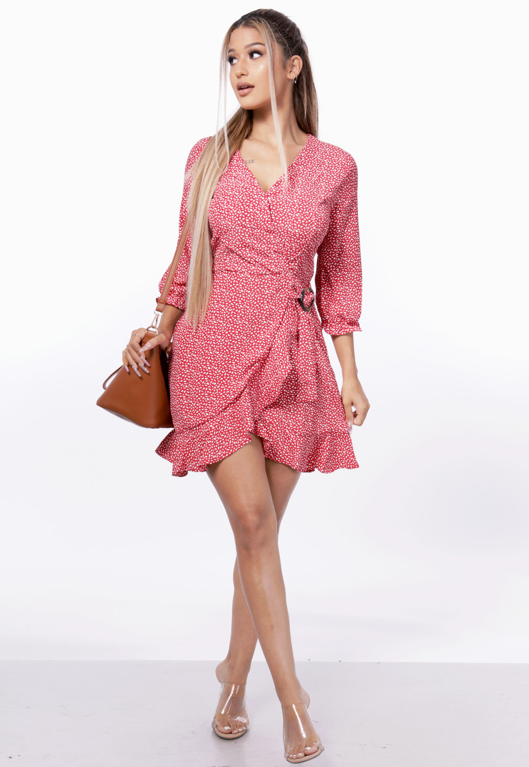 Flare Trim Surplice Dress