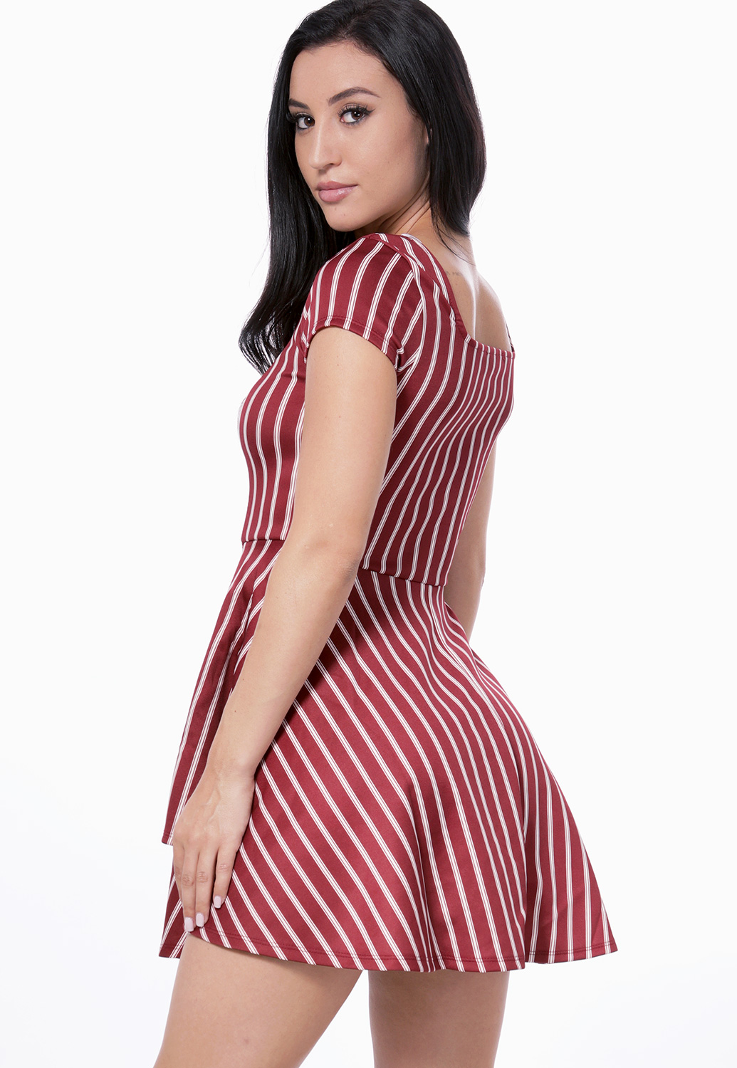Pinstriped Flare Mini Dress