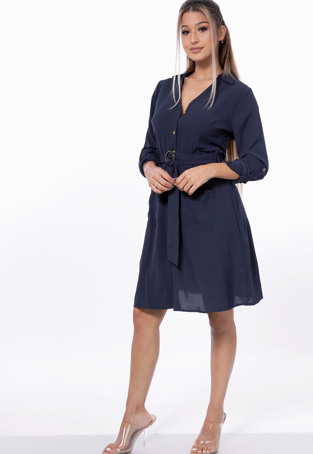 Belted Button Up Dress