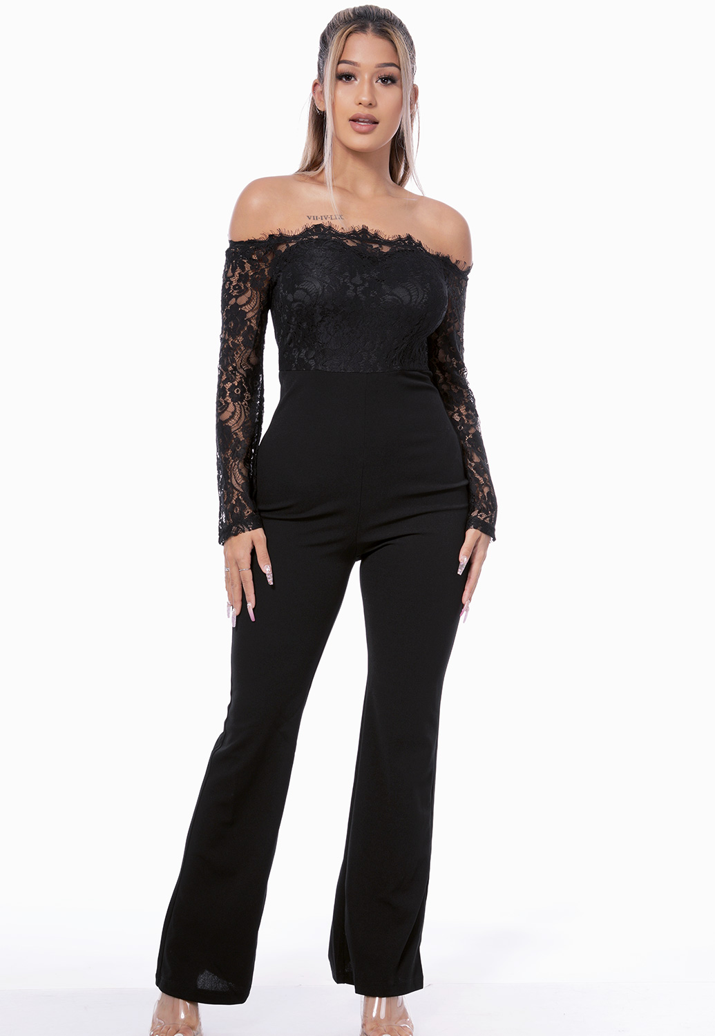 Off The Shoulder Lace Trim Jumpsuit
