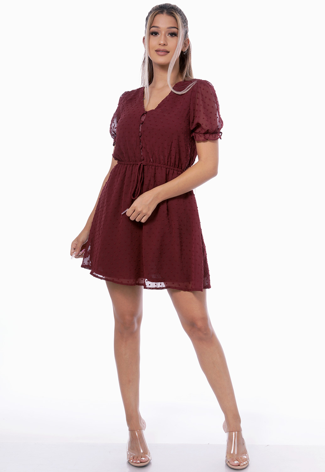V-Neck Tie Front Mini Dress