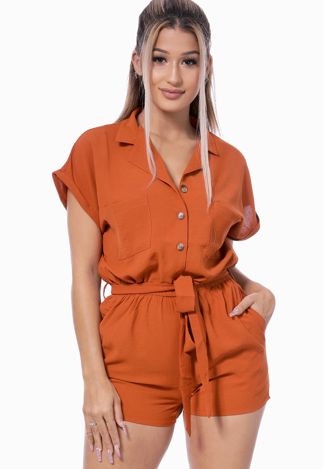 Tie Front Button Detail Romper