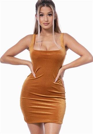 Square Neck Ribbed Bodycon Dress