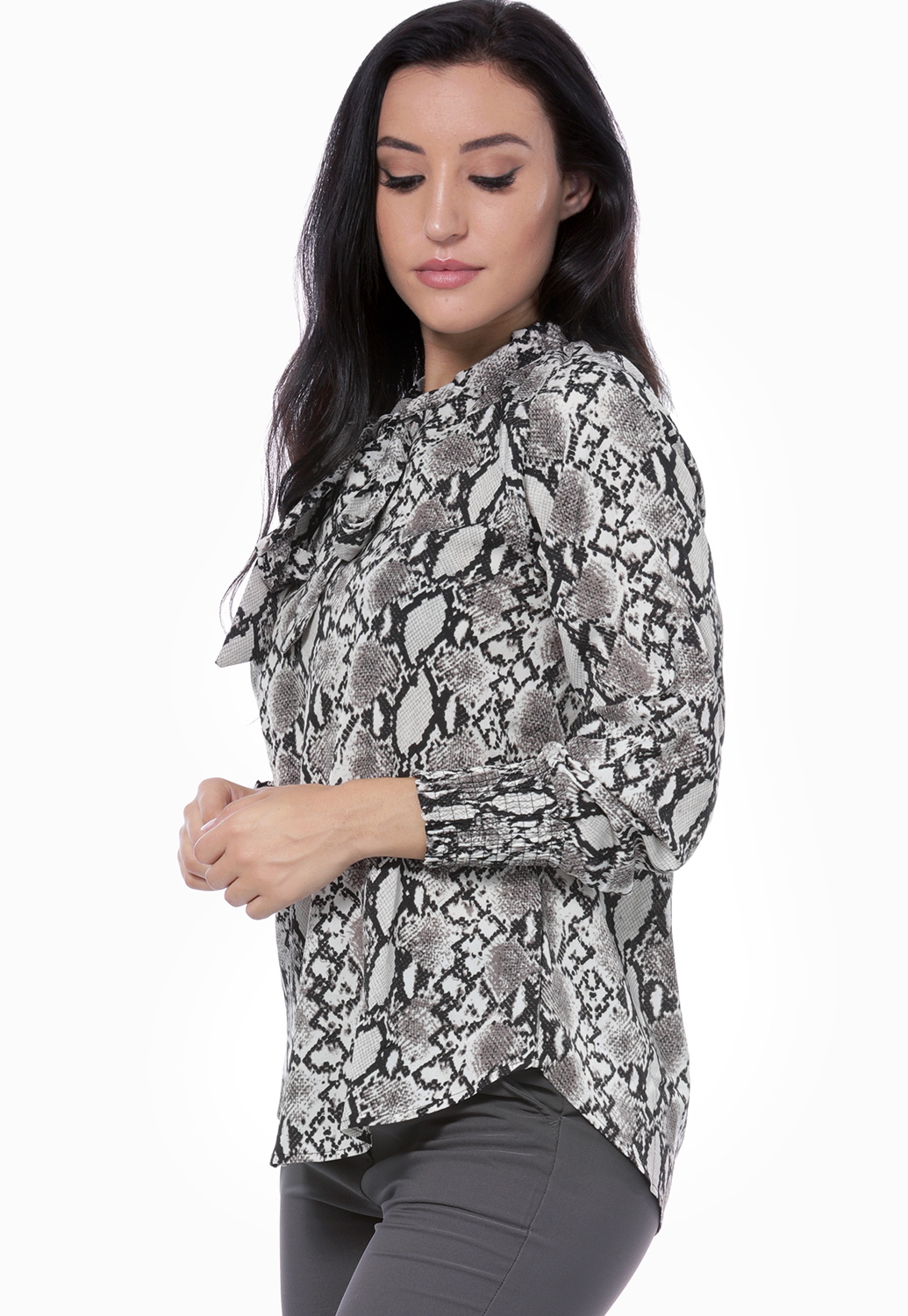 Tie Neck Snake Print Top