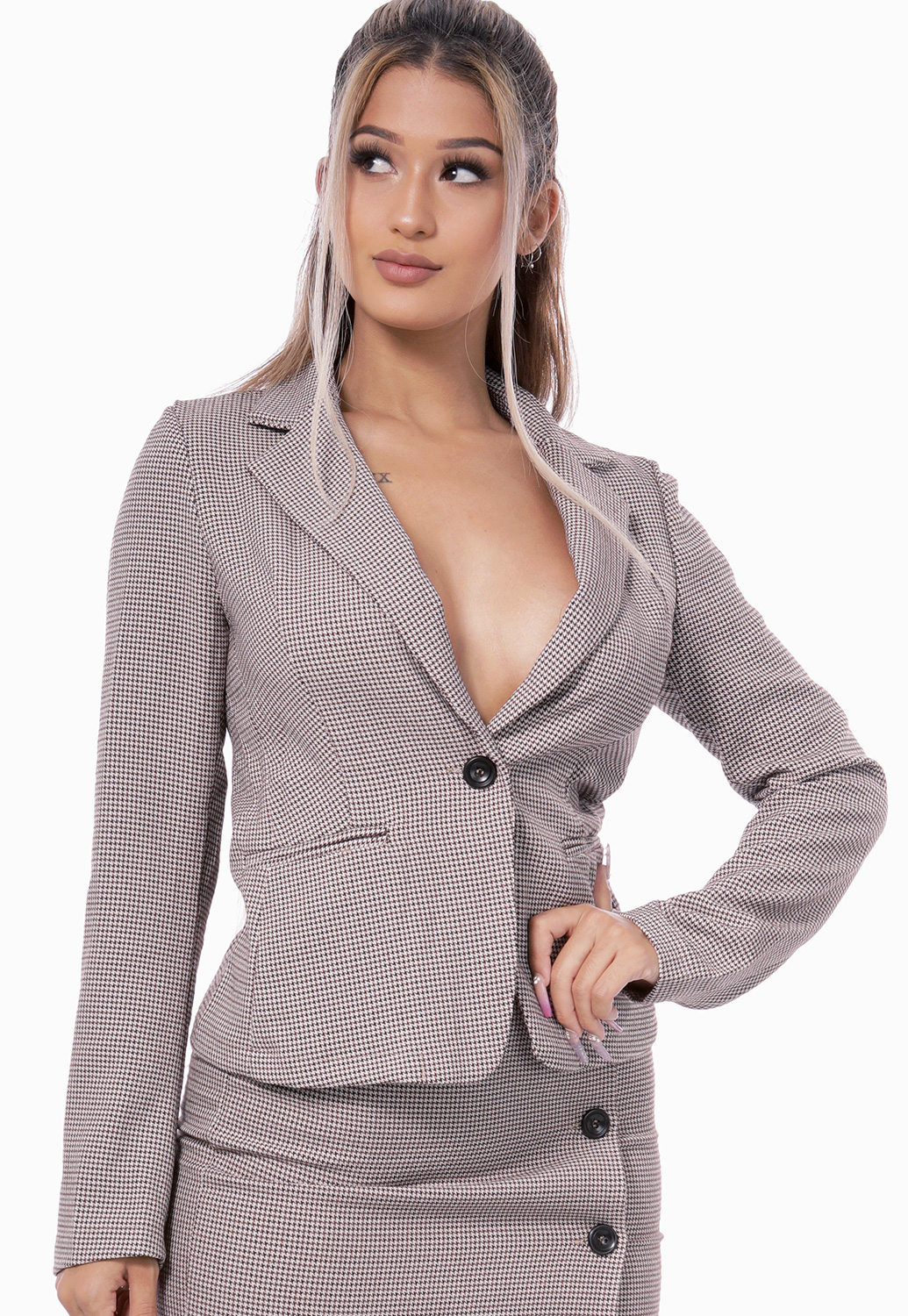 Houndstooth Single Button Blazer