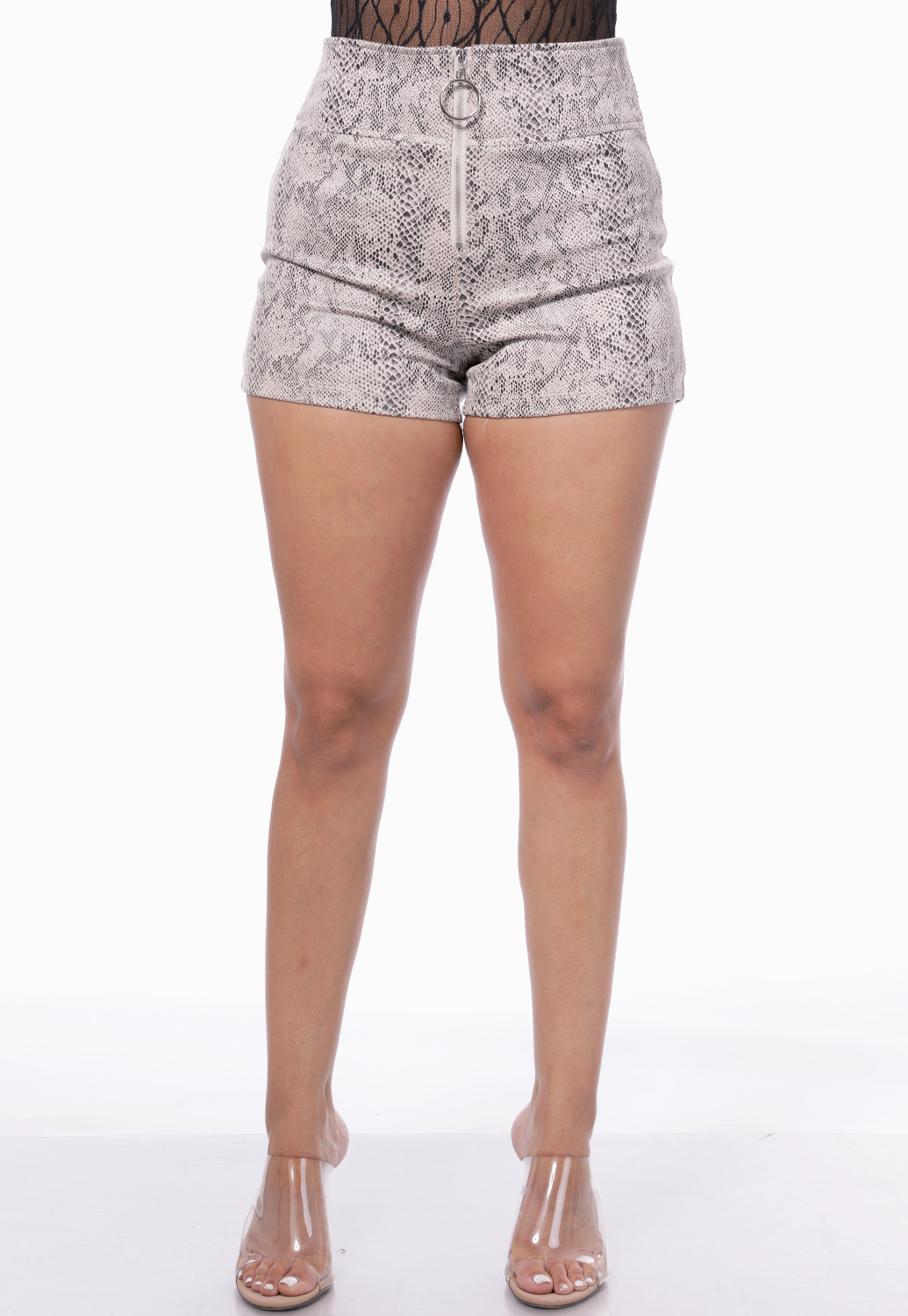 Snake Print Zip Up Shorts