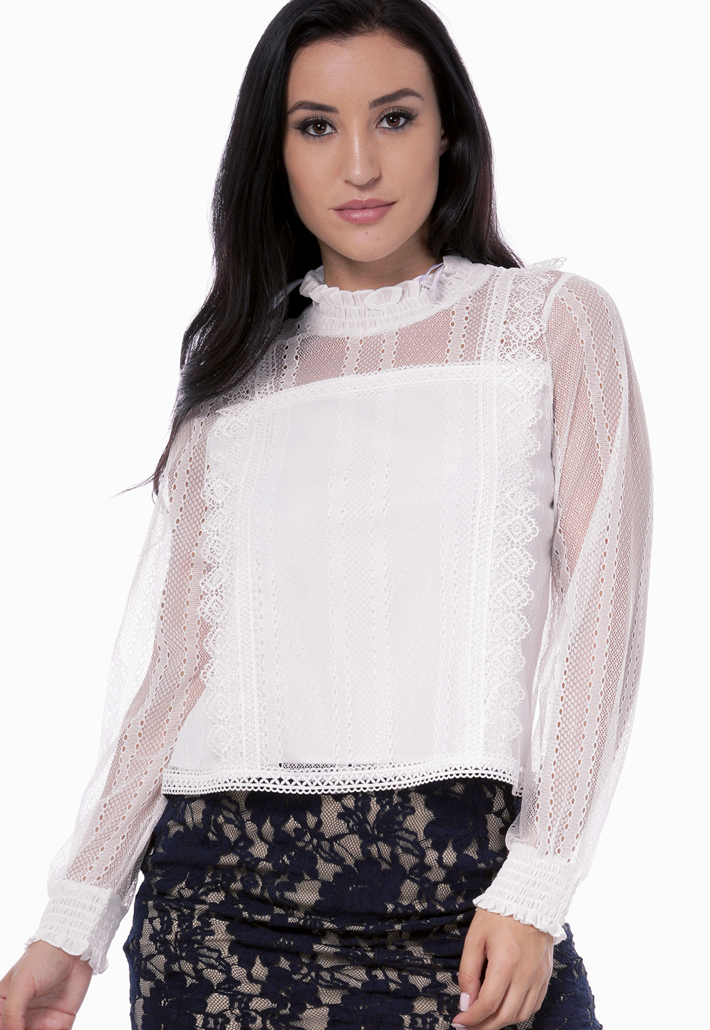 Sheer Crochet Trim Dressy Top
