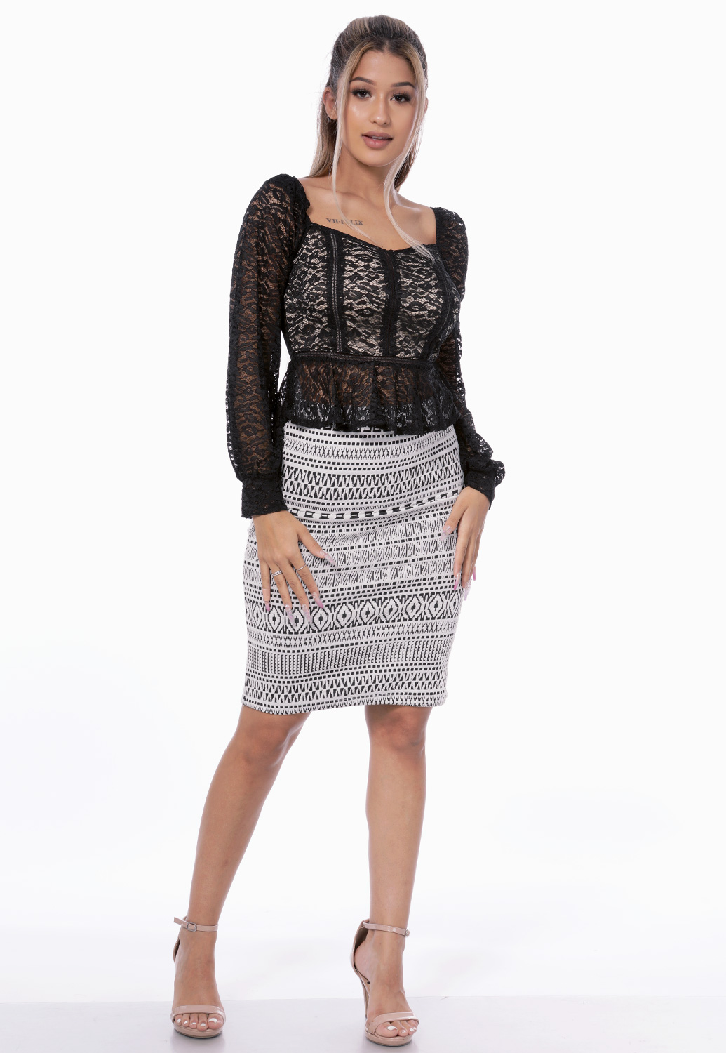 Lace Long Sleeve Dressy Top
