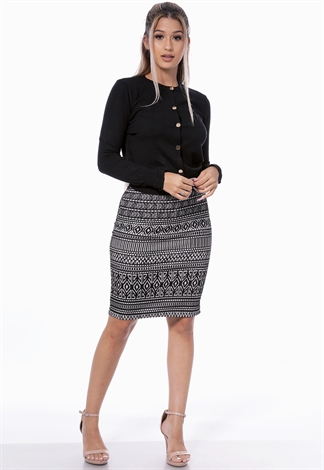 Geo Print Back Slit Skirt