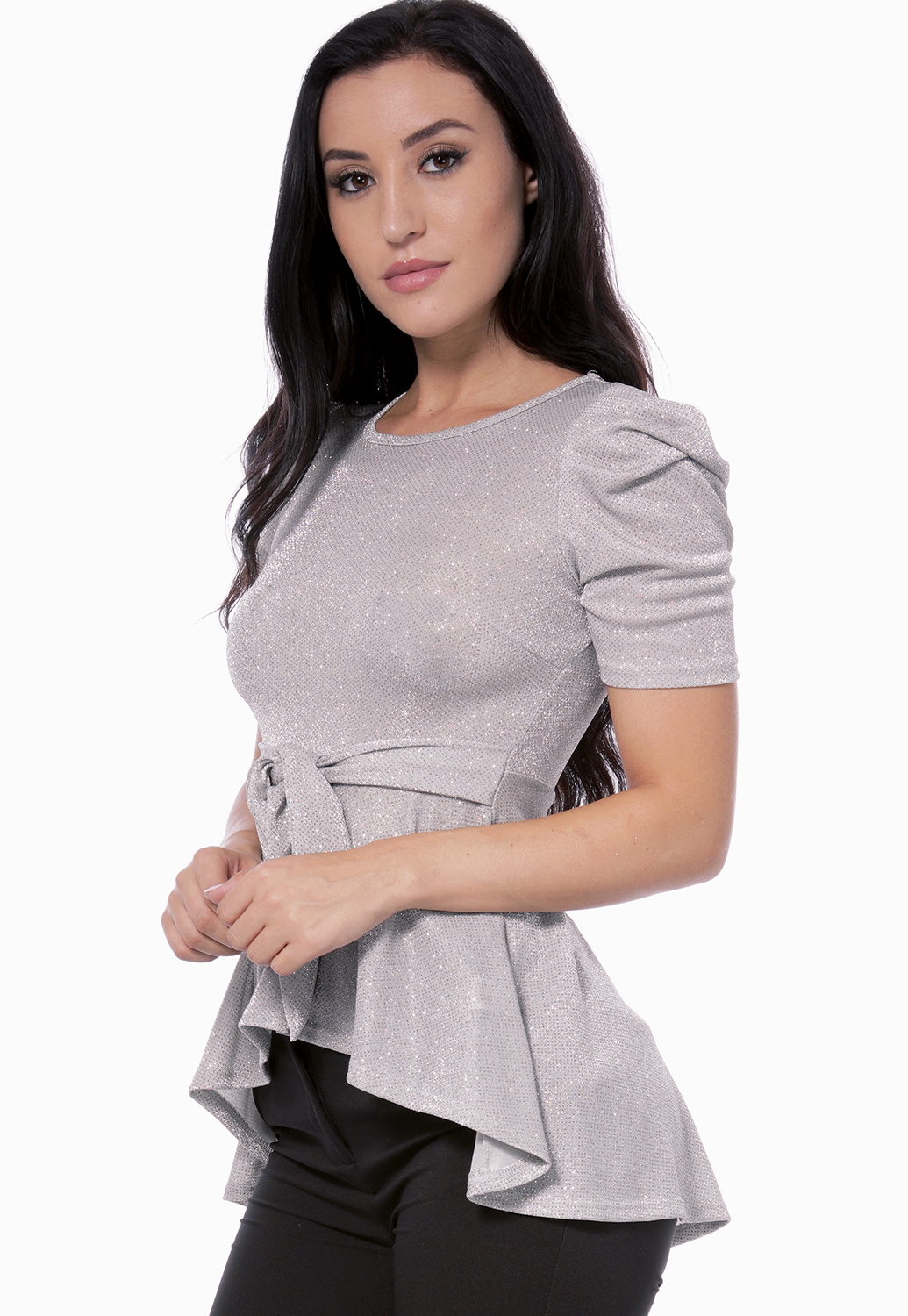Metallic High Low Dressy Top