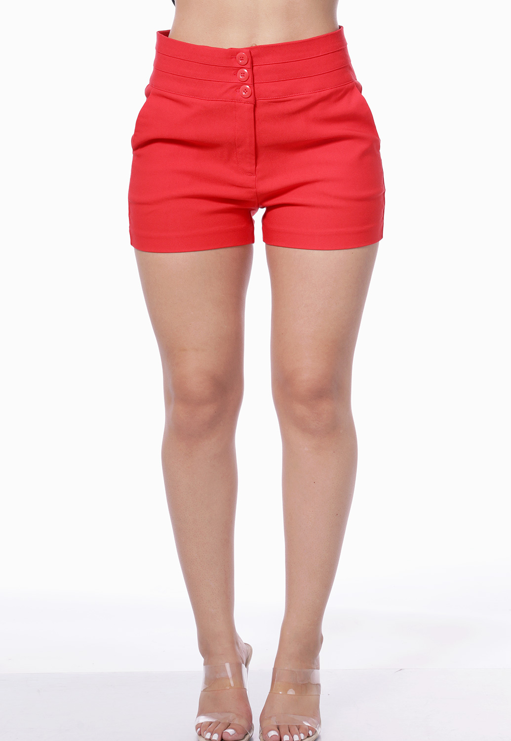 Multi Buttons Dressy Shorts