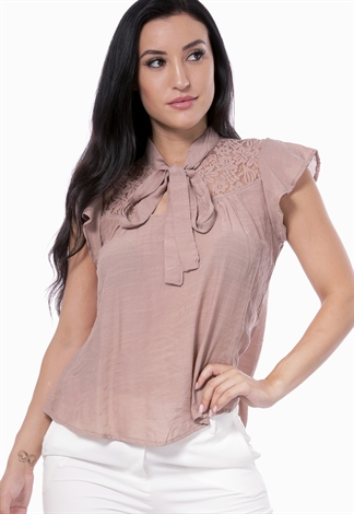 Lace Detail Front Tie Blouse