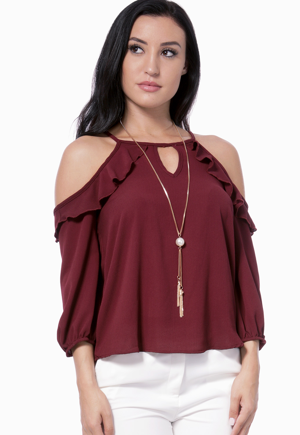 Flare Trim Dressy Top W/Necklace