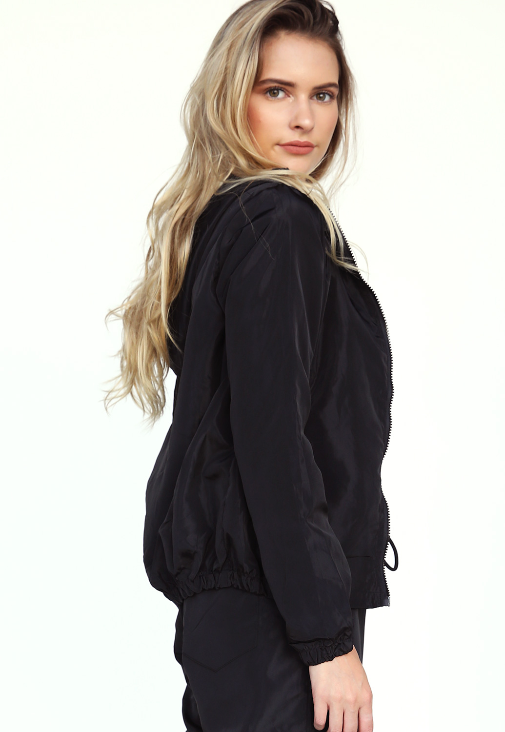 Drawstring Zip Up Active Jacket
