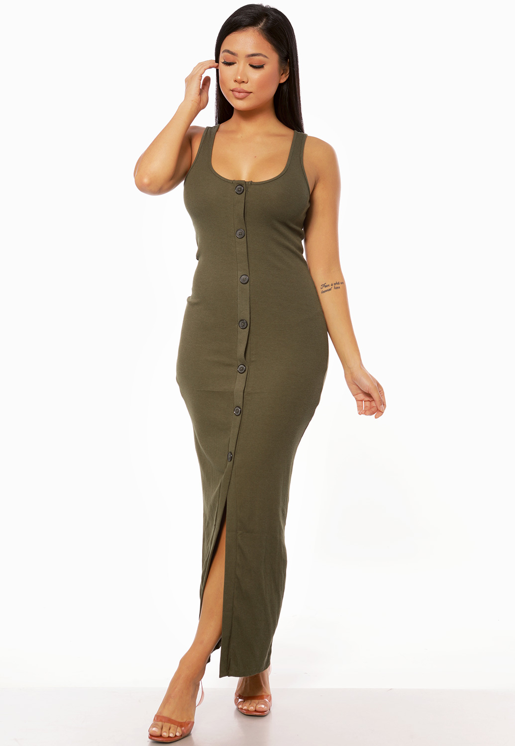 Front Button Detail Maxi Dress