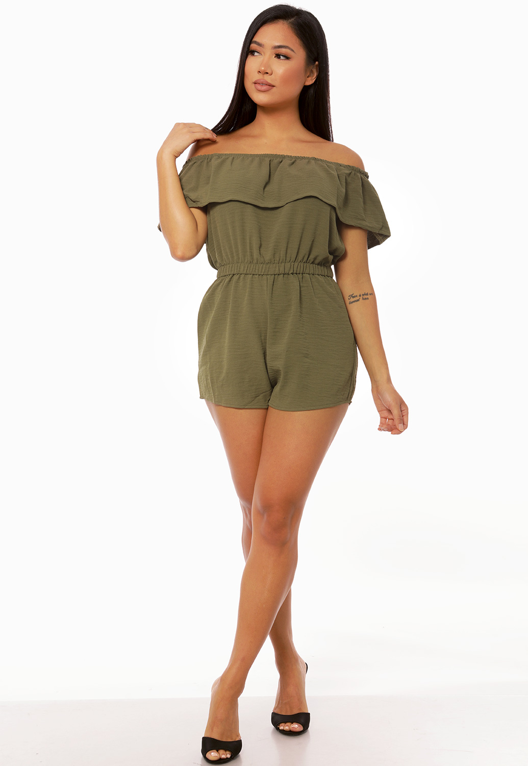 Off The Shoulder Flare Trim Romper