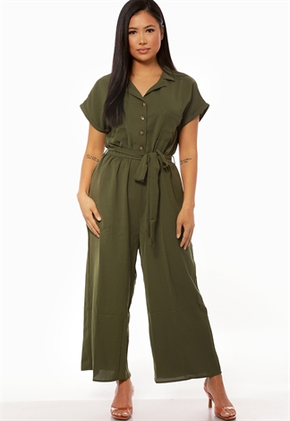Tie Front Button Detail Jumpsuit