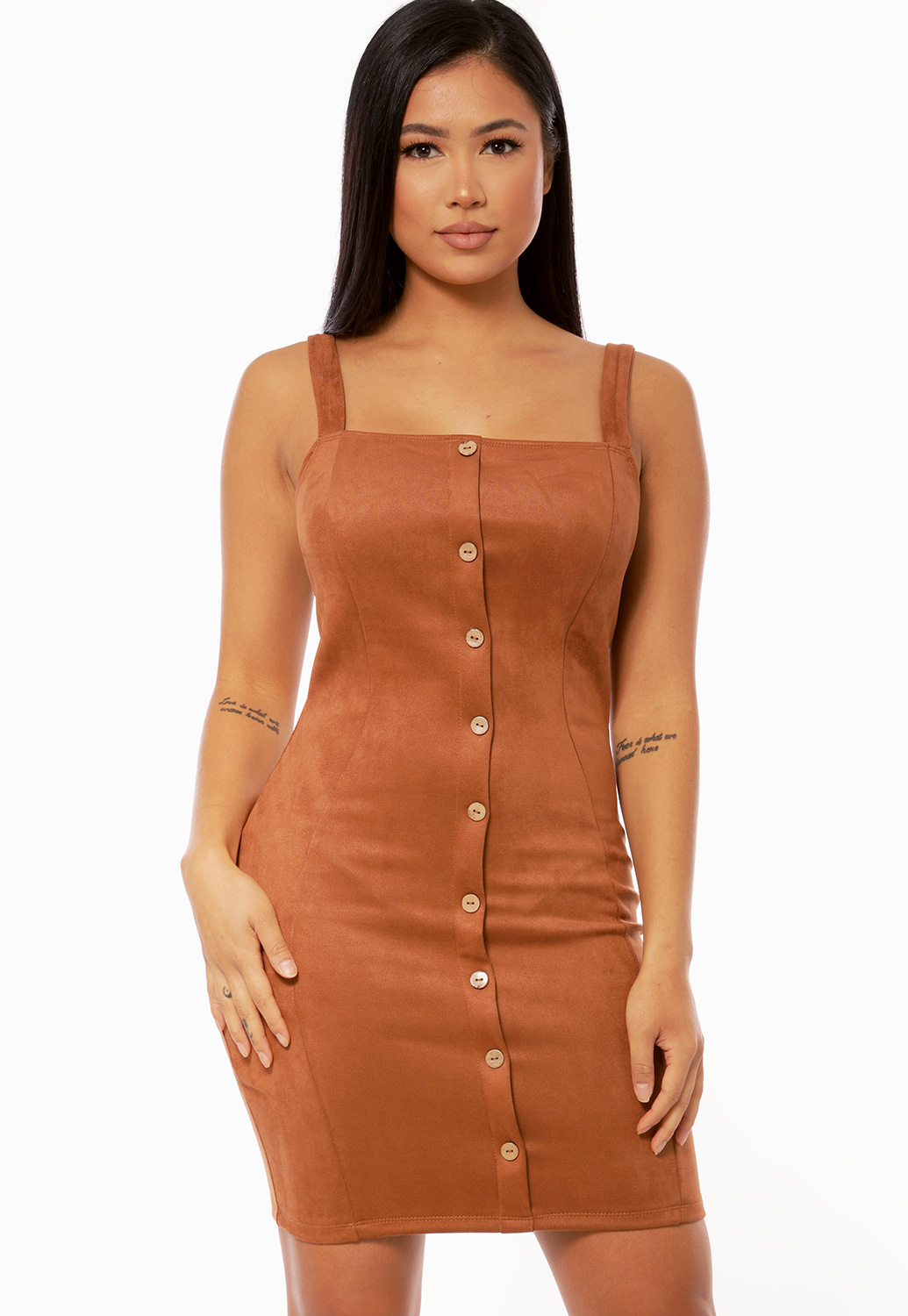 Button Detail Suede Mini Dress