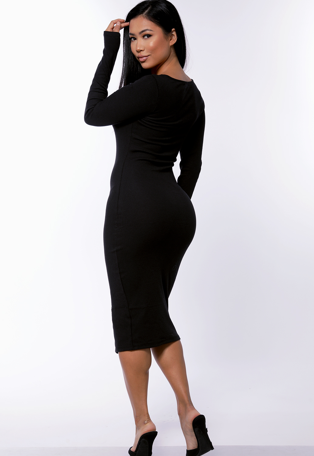 Button Detail Bodycon Dress