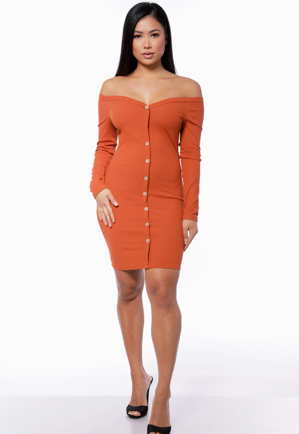 Ribbed Off The Shoulder Mini Dress