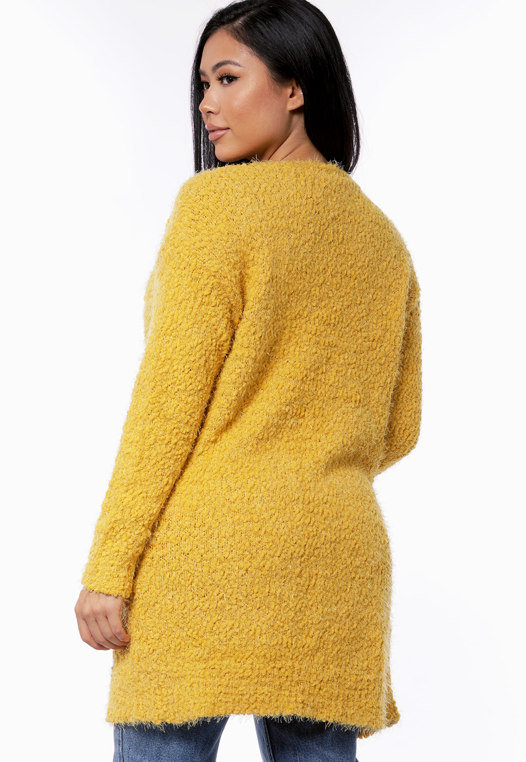 Fuzzy Chenille Open Front Cardigan