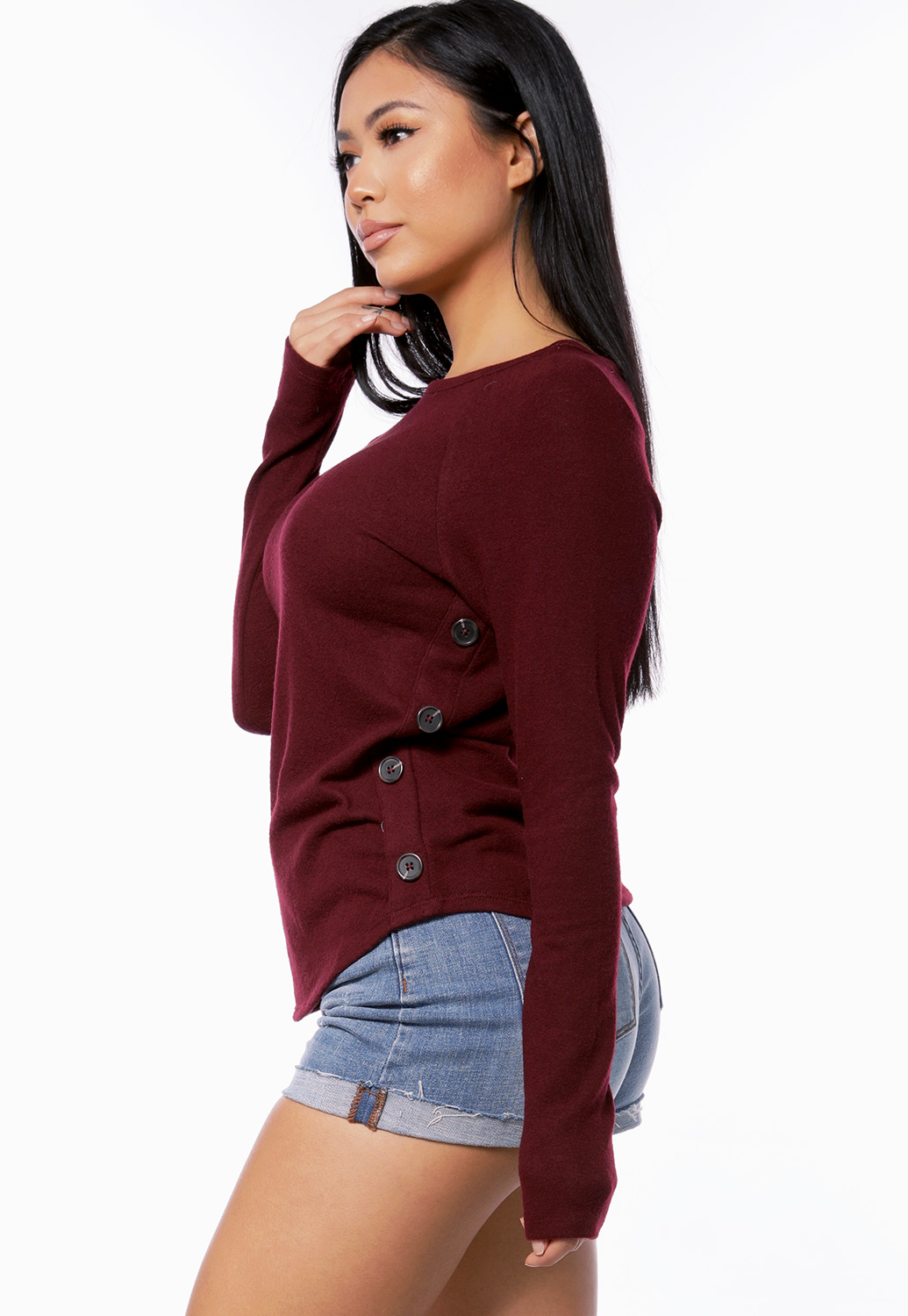 Button Detail Long Sleeve Top